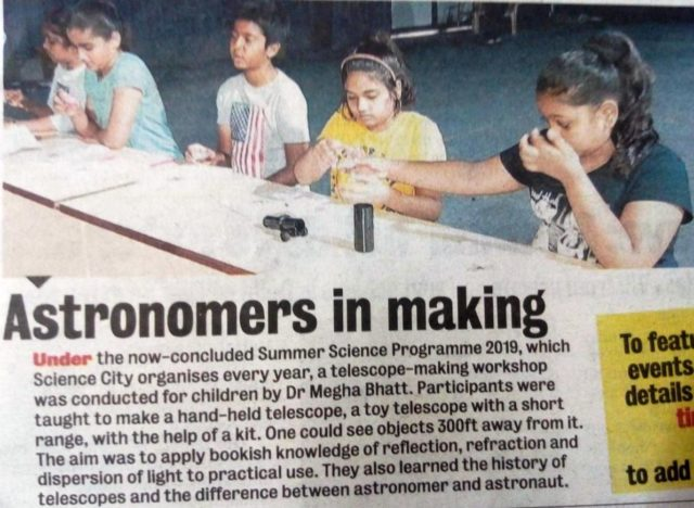 At Science City – Telescope Making Workshop